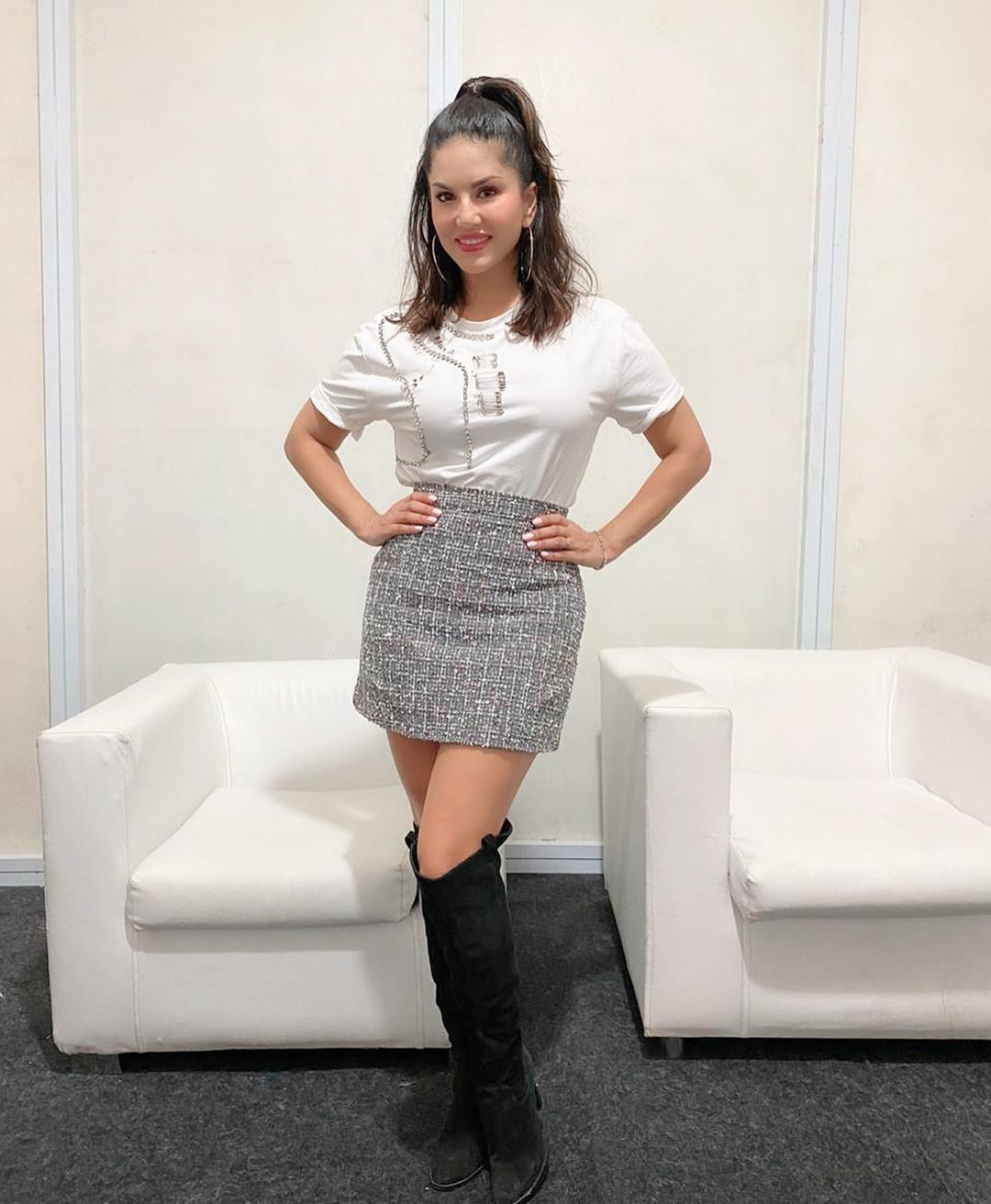 Sunny leone hot images in white dress at  song promo