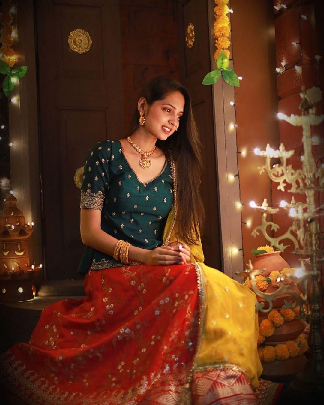 Vidula Chougule in green traditional dress