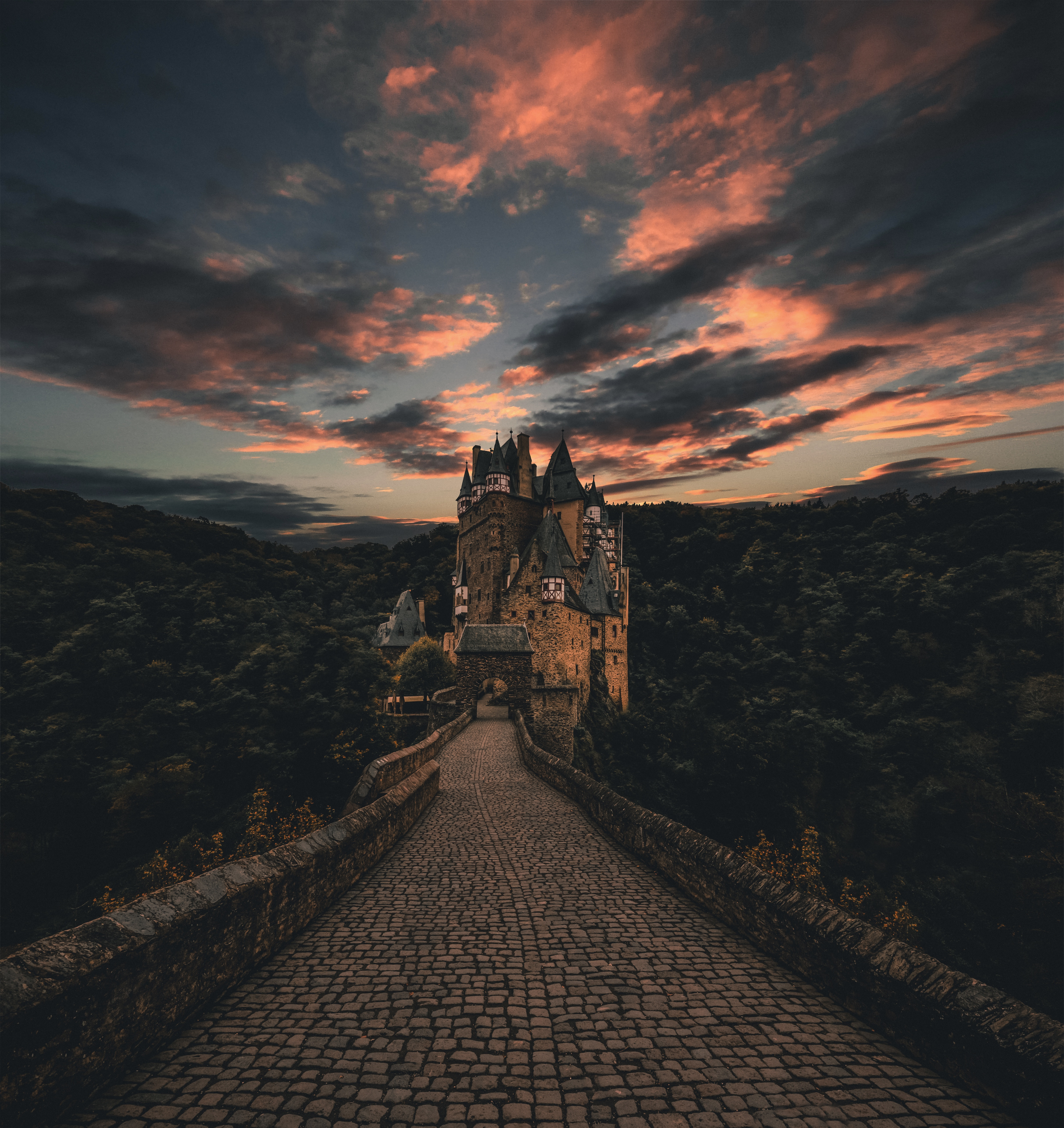 wierschem germany castle trail evening sky