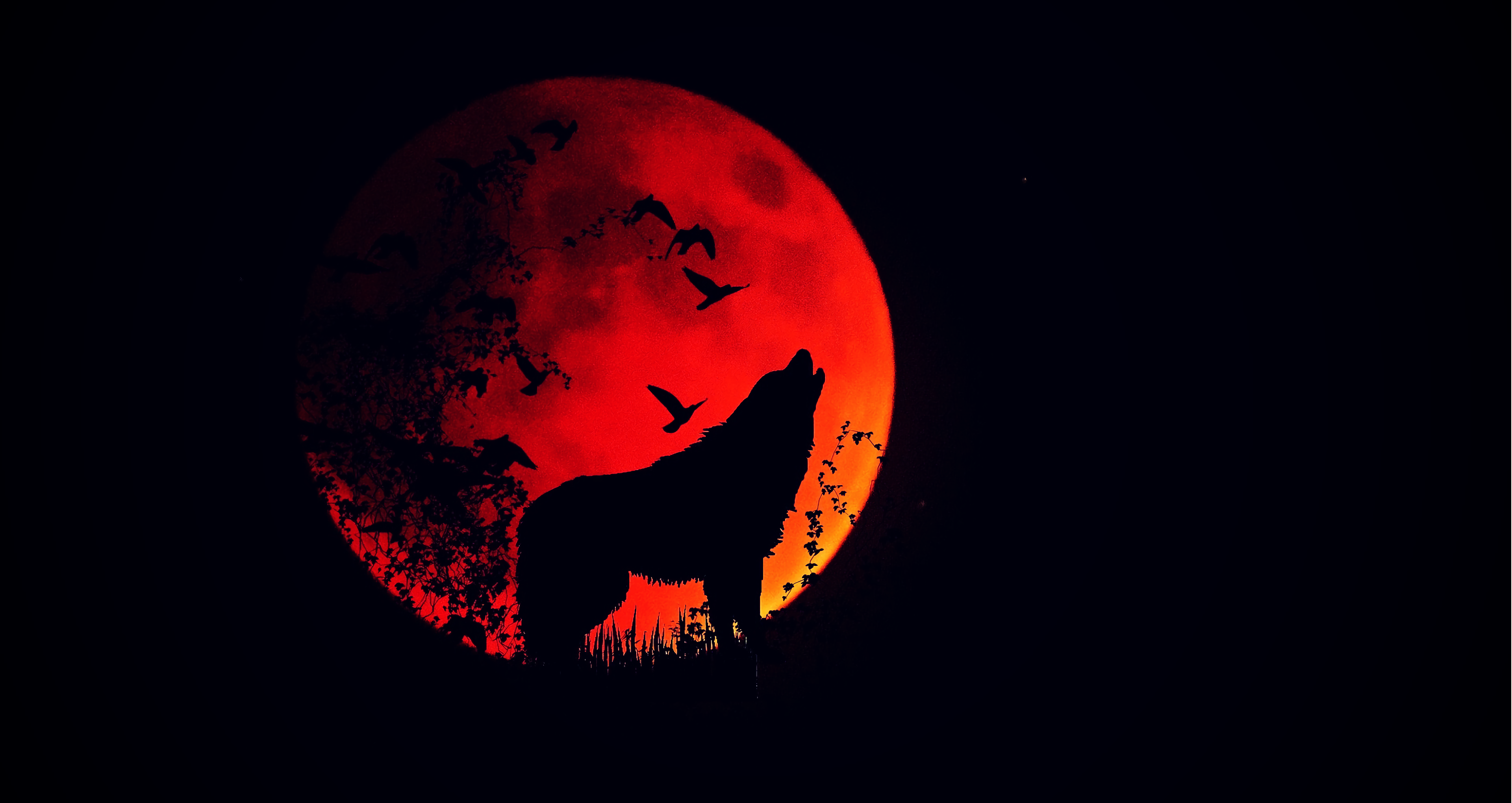 wolf howl silhouette