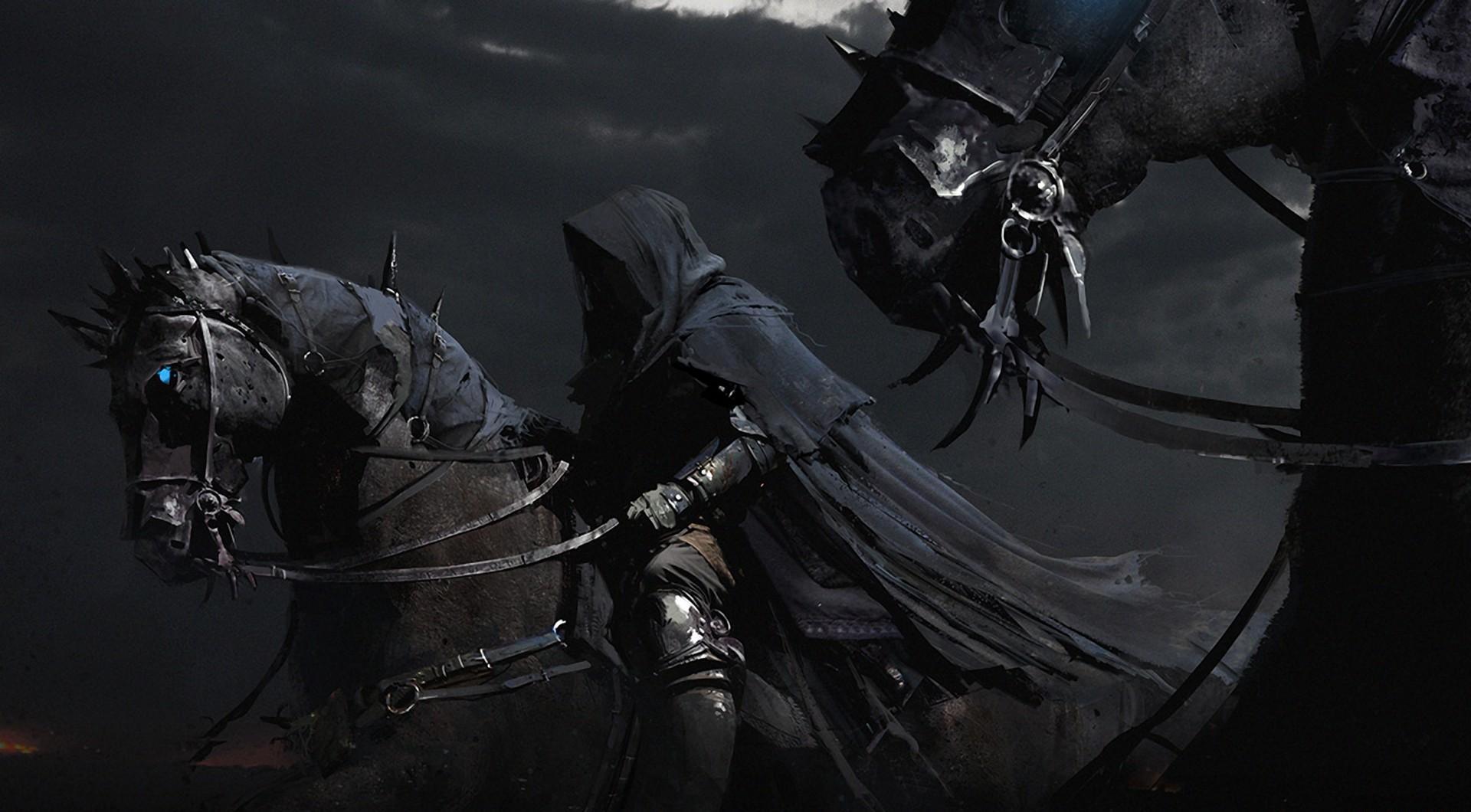 horses horsemen black night cloak