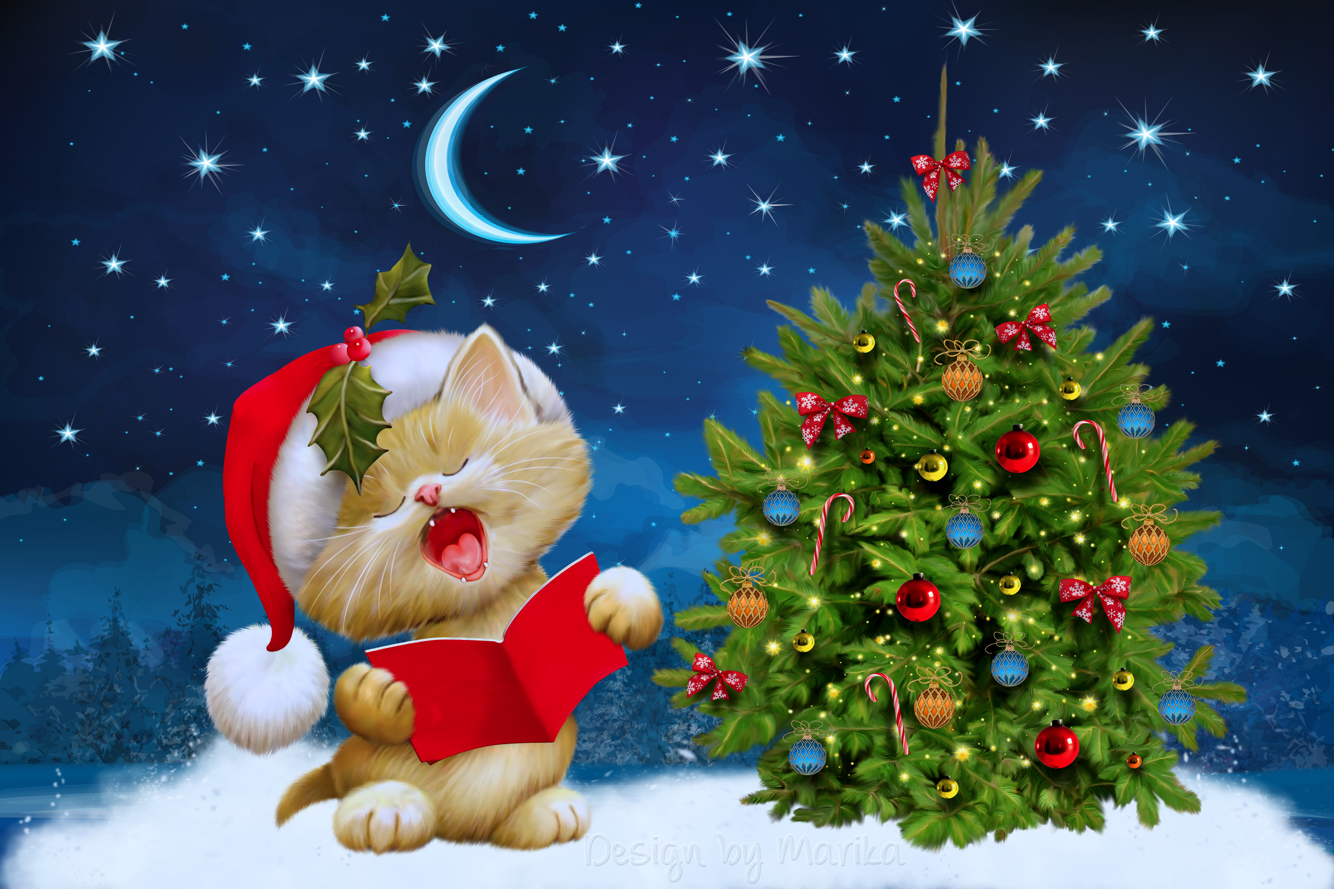 new year christmas cat card