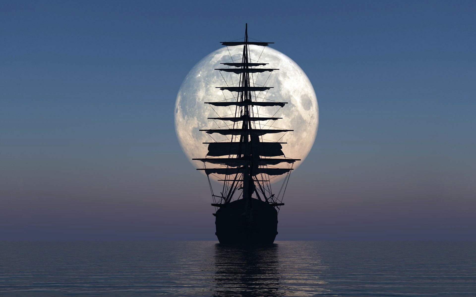 ship sea sunset moon