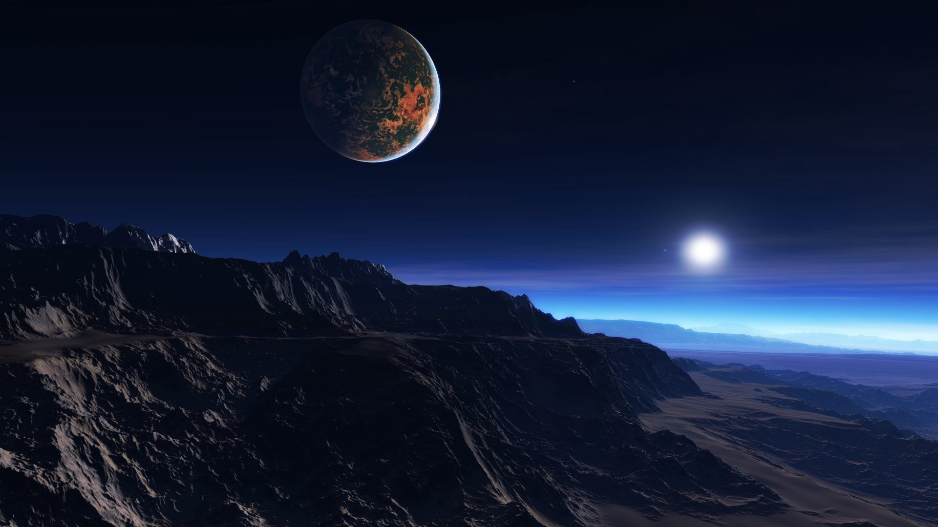 exoplanet atmosphere clouds stars moon mist mountains rocks