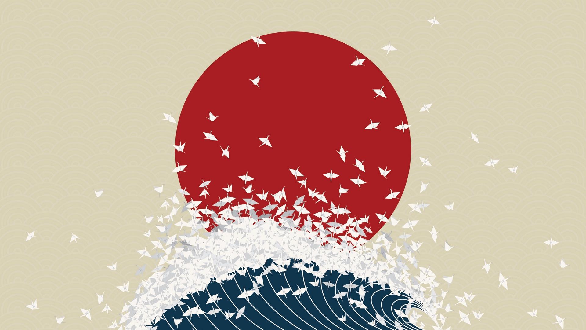 minimalism origami japan rising sun wave