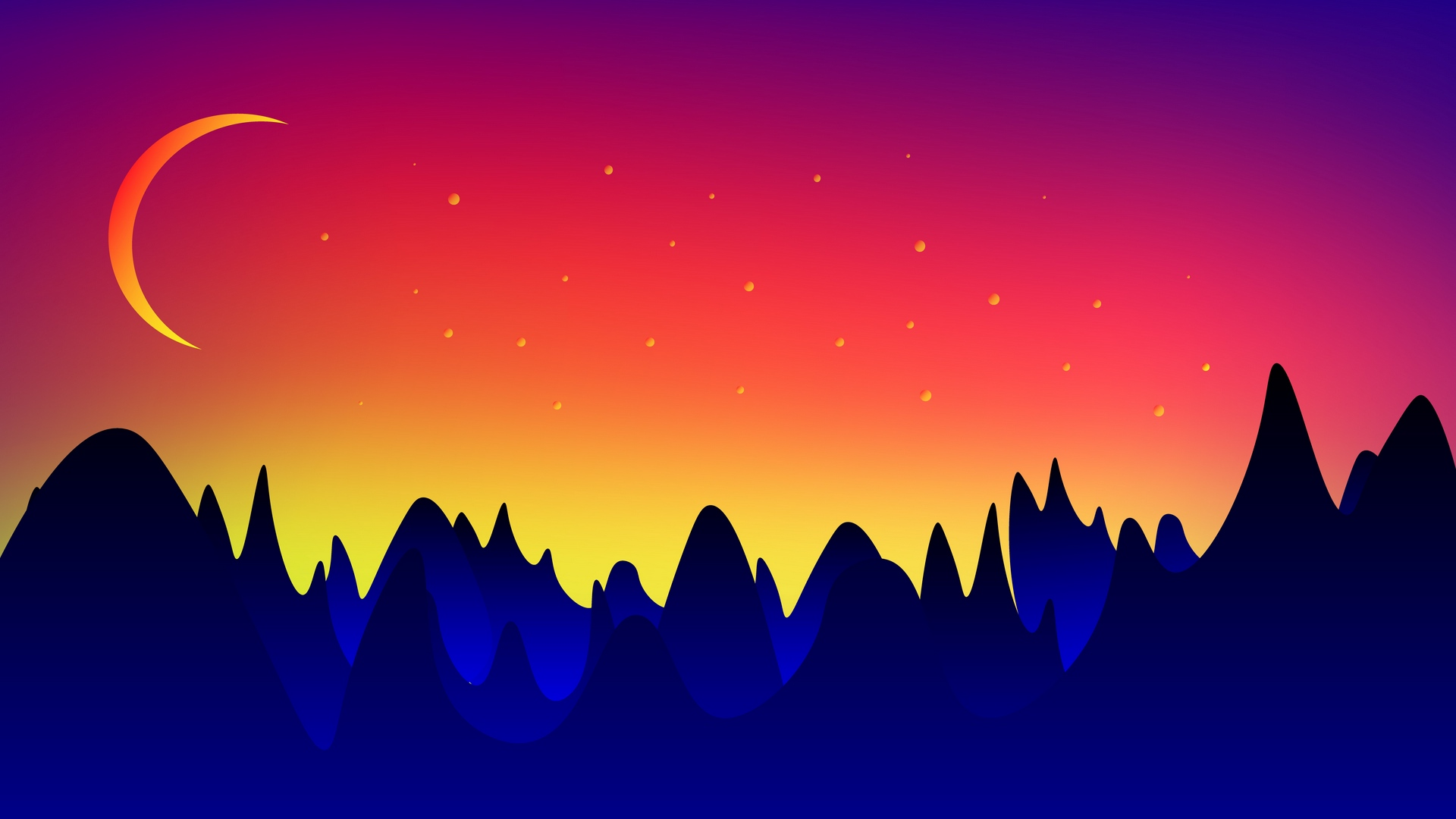 mountains moon landscape vector